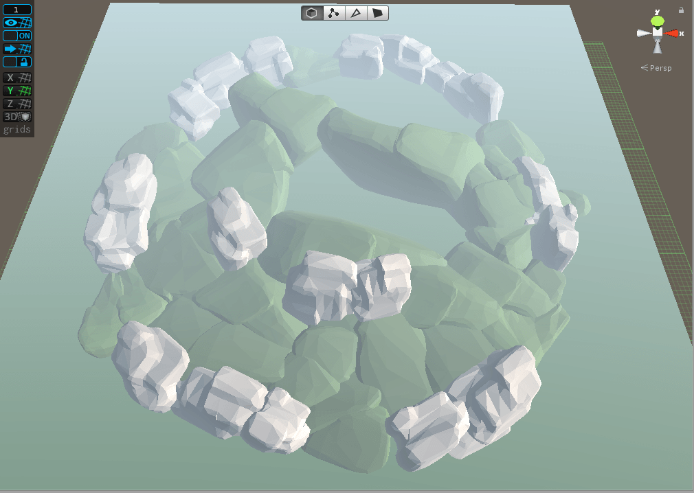 Creating the level using low poly blocks